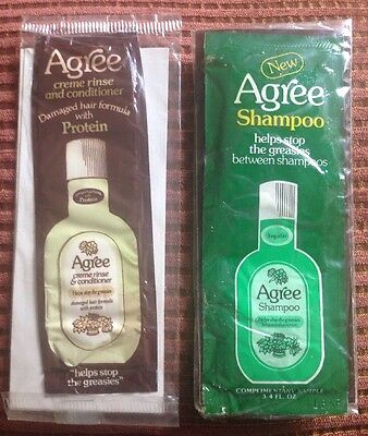 Vintage/NOS AGREE Shampoo Sample 3/4 fl oz w Coupon & Conditioner Print Ad