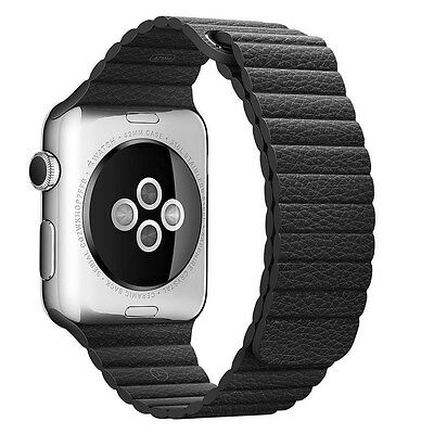 Authentic Apple 42mm Black Leather Loop Magnetic Closure, Large - MJY62ZM/A - UD