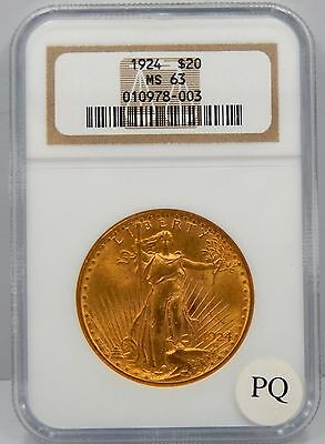 1924 $20 St Gaudens Gold Piece  - NGC Graded MS63 !!
