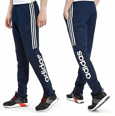 Mens Adidas Navy Smu Linear Fleece Slim Fit Sports Gym Joggers Pants Active Wear