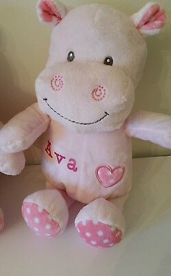 Personalised Hippo teddy cuddly toy pink ,ANY NAME, Unique Gift, pink newborn