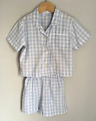 Little White Company Baby Boys Blue Gingham Pyjamas Set Short Size 18-24 Months
