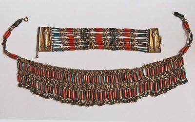 Vintage Egyptian Revival Turquoise Coral Necklace Bracelet Set Mummy Clasp Antiq