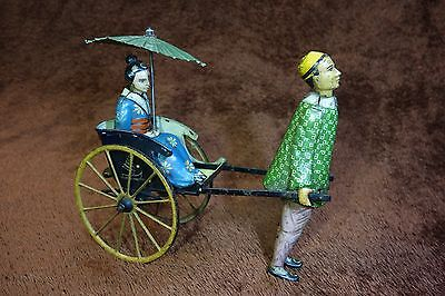 1920s Lehmann Masuyama Rickshaw Vintage Tin Wind up Toy Germany