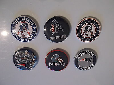 NEW ENGLAND PATRIOTS  set of 6  BADGES  38mm each