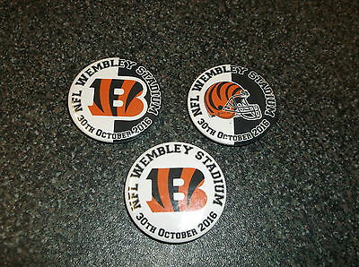 CINCINNATI BENGALS  WEMBLEY 2016  BADGES or FRIDGE MAGNETS  X 3
