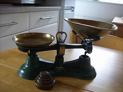 Salter scales with full set of Brass weights
