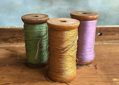 Lot of 3 Vintage Threads on Wooden spools -