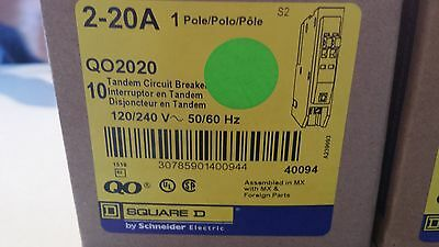 New Box of 10 Breaker Square D QO2020 tandem