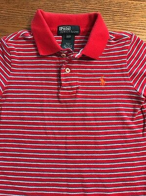 Polo, Ralph Lauren Toddler Boys Size 2T Red StrIped Short Sleeve Polo Shirt