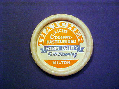 Vintage Milk Bottle Cap - Thatcher Farm Dairy Milton MA Light Cream (bonnet)