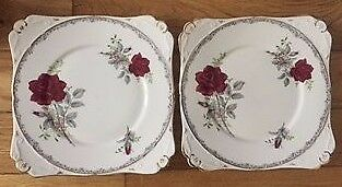 2 x Vintage Cake Plates Made by Royal Stafford In The Roses to Remember Pattern