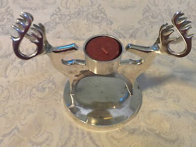 """Vintage Reindeer Silver Candle Holder Two Heads 8"""" X 5"""" Heavy Piece India"""