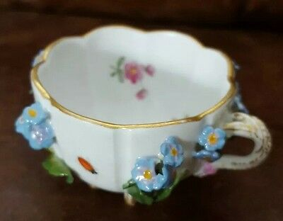 Antique Meissen Dresden Encrusted Flower and Insect Cup