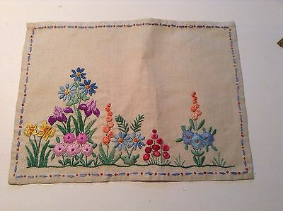 Vintage Stunning Hand Embroidered Linen Tray Cloth