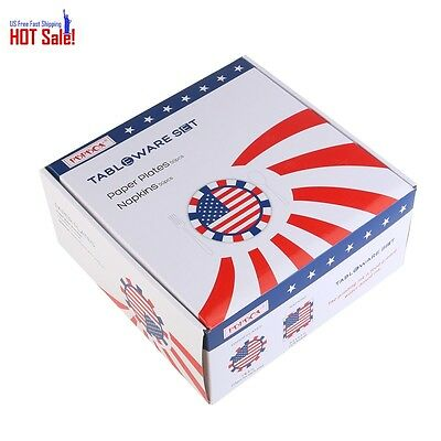 PBPBOX 4th of July Party 50 Pk Plates and Napkins with American Flag Patriotic D