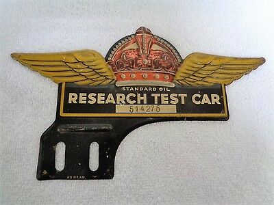 Rare Vintage Socony Standard Oil Research Test Car License Plate Tag Topper Sign