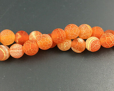 8mm orange frosted agate beads matte round stone beads loose gemstone beads