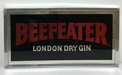 Vintage Liquor Beefeater England Distilled Gin Bar Mirror Wall Sign Wood Frame