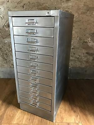 Vintage Industrial Stripped Metal12 Drawer Filing Cabinet Storage