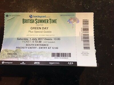 1 ticket Green Day at Hyde Park London on Saturday 1st July 2017 (Priority Entry