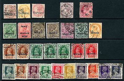 India Used Collection of QV to KG6 Officials Service & OnHMS - 29 Stamps