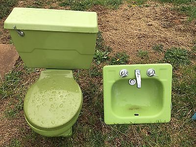 1960's Vintage Kohler Toilet and Sink Set (Green) for Bathroom- Unique Set