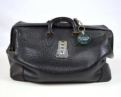 Antique Black Leather Doctors Hand Bag Duffle Satchel Travel Luggage Medical