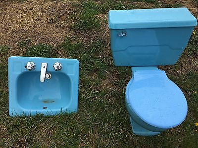 1960's Vintage Kohler Toilet and Sink Set (Blue) for Bathroom- Unique Set