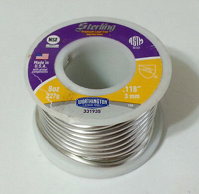 Lead Free Solder Worthington Sterling .118inch 3mm Dia. 331935 WS15224 8oz NEW