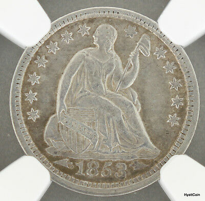 1853 Arrows Seated Liberty Silver Half Dime H10C NGC XF Details