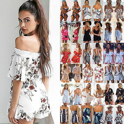 Womens Holiday Mini Playsuit Ladies Jumpsuit Summer Beach Casual Dress Shorts