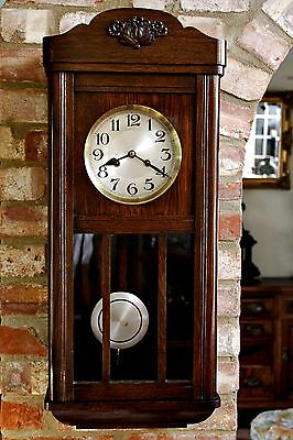 Antique Art Deco German 8-Day Oak Case Wall Clock with Chimes