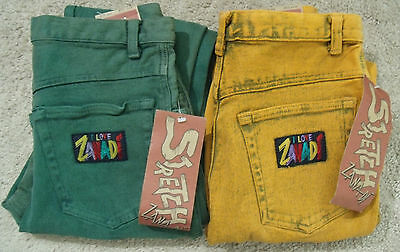 Lot of 2 Womens Junior Vintage Green and Yellow Zana-DI Jeans Size 9/10 NOS