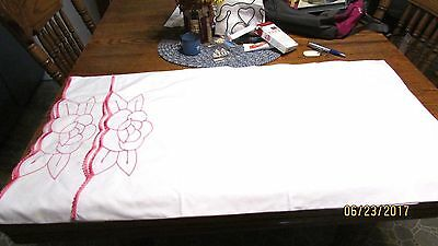 Vintage Red White Pink Large Oversize Embroidered Pillowcases Pink Red Crocheted