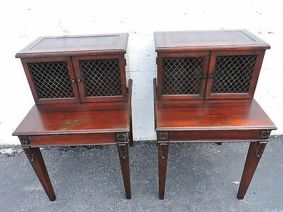 Pair of Mahogany and Leather Top Nightstand  End Table by Big Rapids 7878