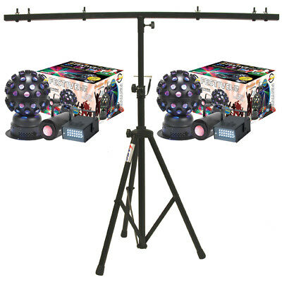 American DJ (2) Festive LED Pak Effects Light Fixture Package w/ T-Bar Stand