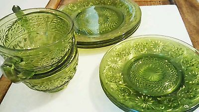 Anchor Hocking Depression Glass Green Sandwich Pattern Cups Saucers Plates 9 PCs