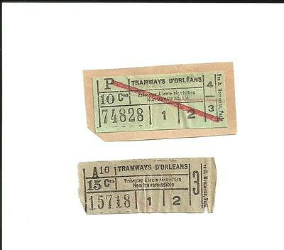2 tickets anciens. TRAMWAYS d'ORLEANS.