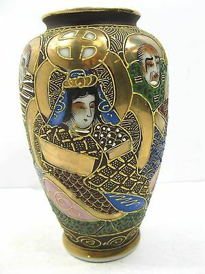 Vintage Hand Painted Asian Vase Pottery Men Woman Asian Characters On Bottom