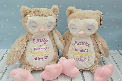 Personalised Baby Owl Teddy Bear Gift,Embroidered Birthday/bridesmade gift