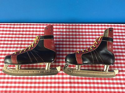 Vintage 1940's / 1950's All Leather Ice Hockey Skates Hungarian