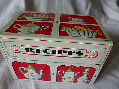 Vintage Metal Recipe Box-Red and White- Penn State Line-with Vintage Blank Recip