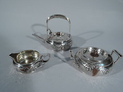 Tiffany Tea Set - 5046 - American Hand-Hammered Sterling Silver & Mixed Metal