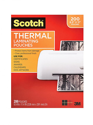 Scotch Thermal Laminating Pouches, 8.9 x 11.4-Inches, 3 mil thick, 200-Pack (TP3