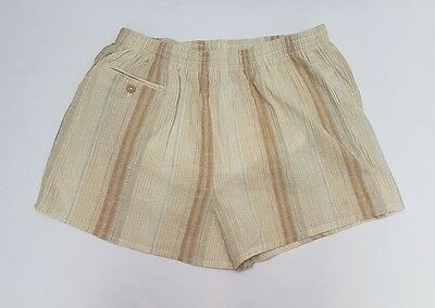 St Michael Men's Vintage Retro Beige Striped Swimming Trunks Shorts W36""