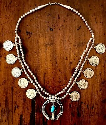 Antique Native Sterling Turquoise OLD Pawn Navajo Squash 2-Strands Necklace