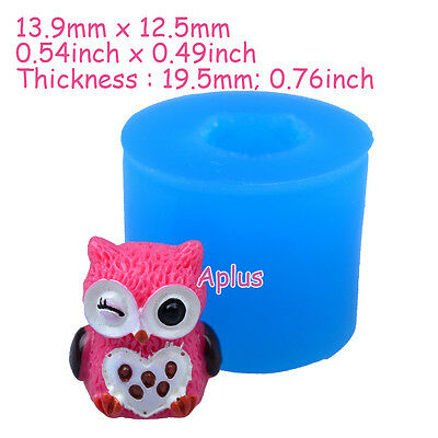 DEB177 19.5mm  3D Owl Silicone Mold - Animal Mold Cake Decoration Resin Jewelry
