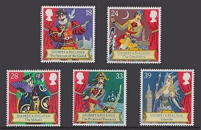 Great Britain - 1992 - Gilbert & Sullivan - Full set of 5 different stamps - MNH