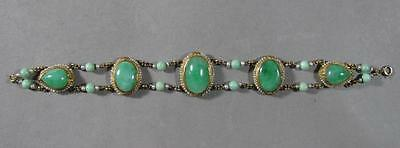 Nice Old Chinese Jade & Gold Bracelet
